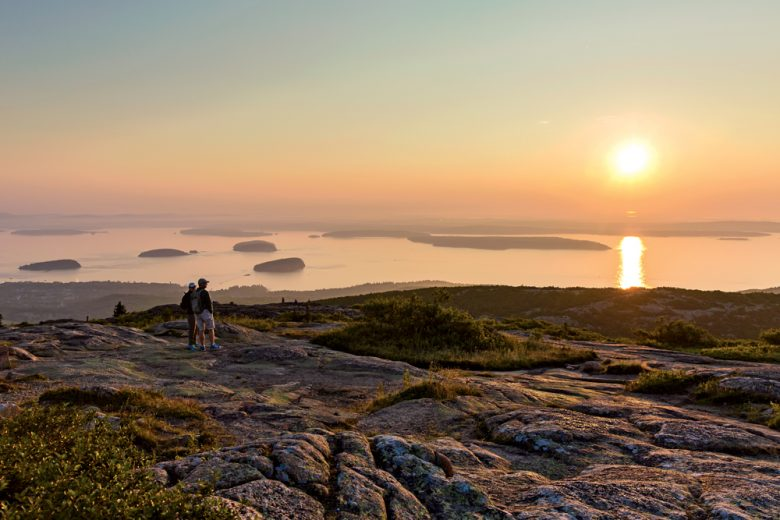 Sunrise on Cadillac Mountain in Acadia National Park, Maine.