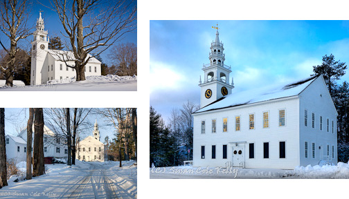 A snowy First Church in Jaffrey Center, NH, USA