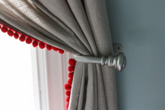 Dress Up Plain Curtains with Red Pom Pom Trim