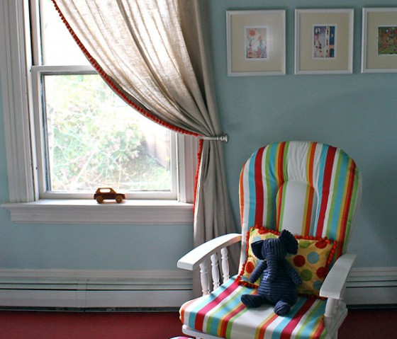 Dress Up Plain Curtains in the Nursery