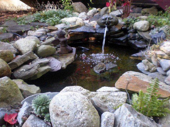 Install a backyard rock and water garden gardening tips for Artificial water pond
