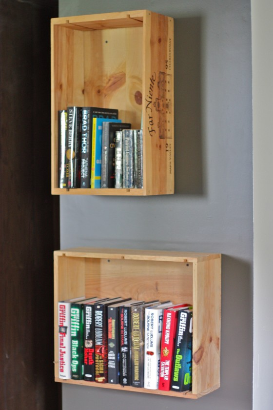 I Noticed These Simple But Lovely Wine Crates Fashioned To The Wall As Book Shelvesand Simply Had Share For Me This Is Perfect Project