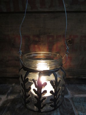 Single wired lantern for hanging--made from baby food jar