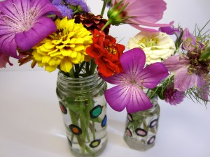 Colorful polka dot vases