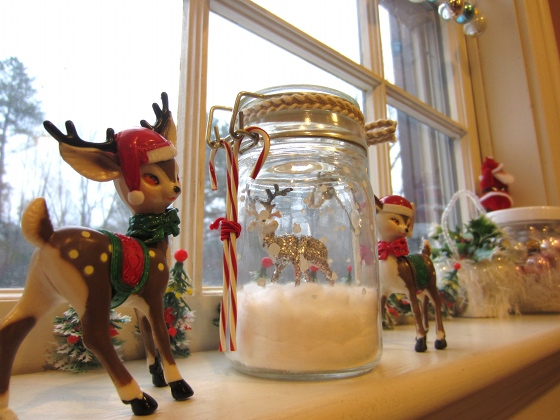 Holiday scene on the window sill