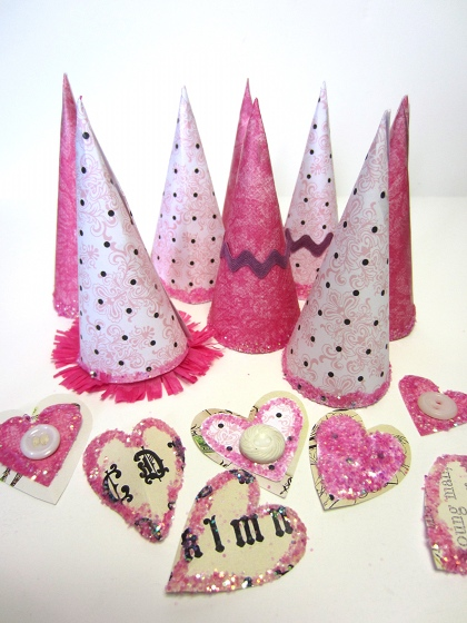 Cones and hearts are set aside to dry