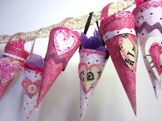 Valentines Day Paper Cones hung for decoration