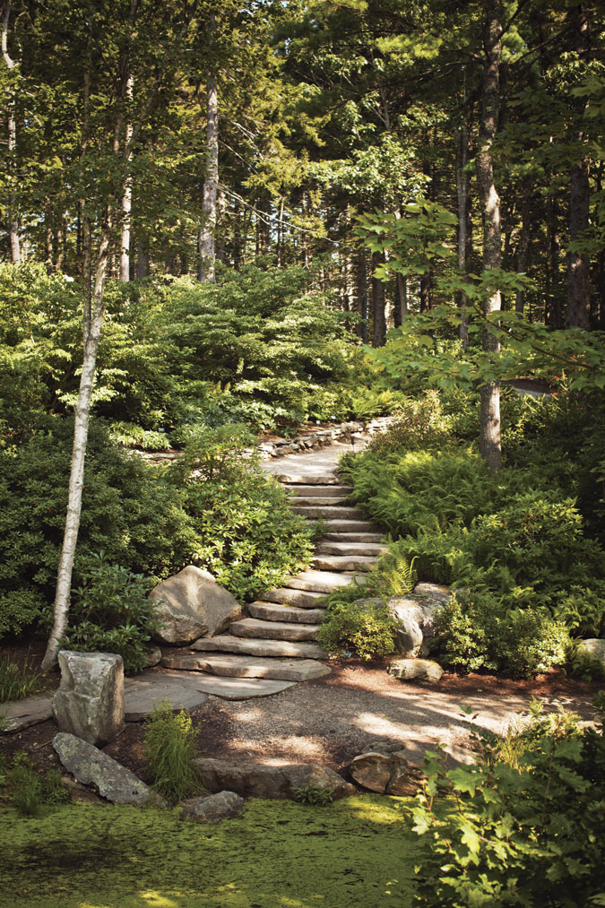 Stone Stairs At The Giles Rhododendron Garden. Graceful Stonework  Highlights The Giles Rhododendron Garden At The Coastal Maine Botanical ...