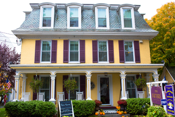 The front of the Inn Victoria in downtown Chester, Vermont.