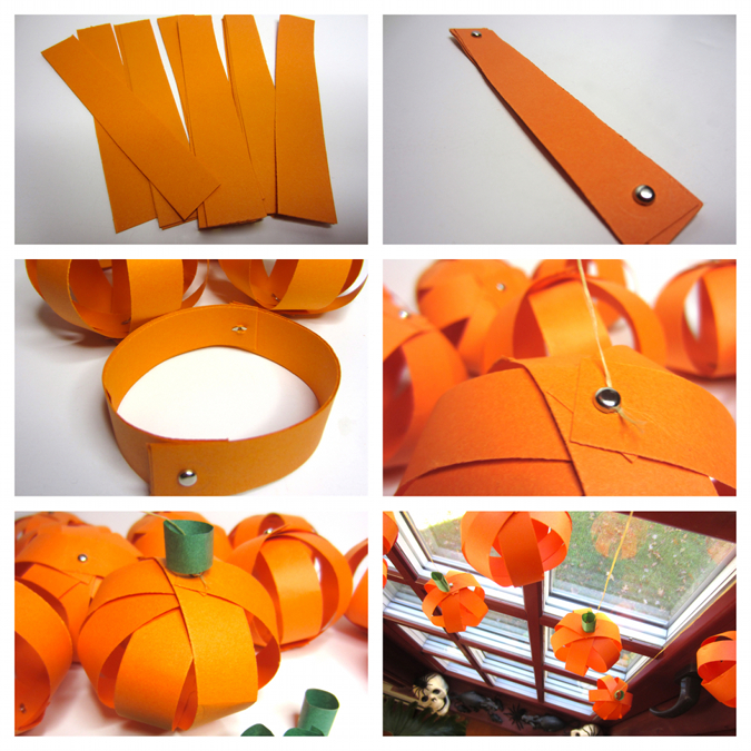 Steps For Making Paper Pumpkin Orbs