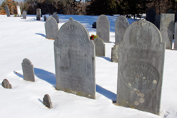 Graves with headstones and footstones