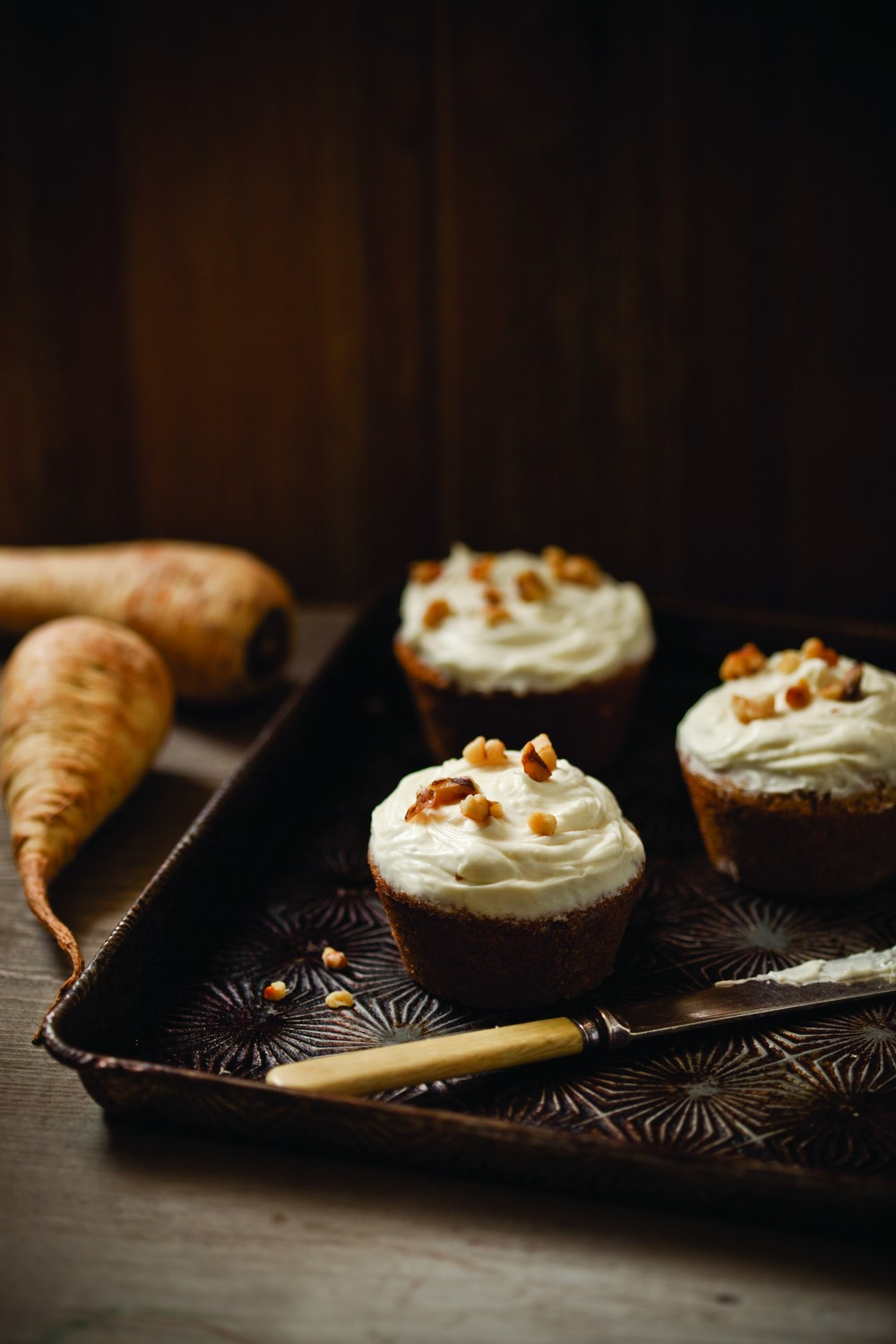 Parsnip Spice Cupcakes with Maple Frosting
