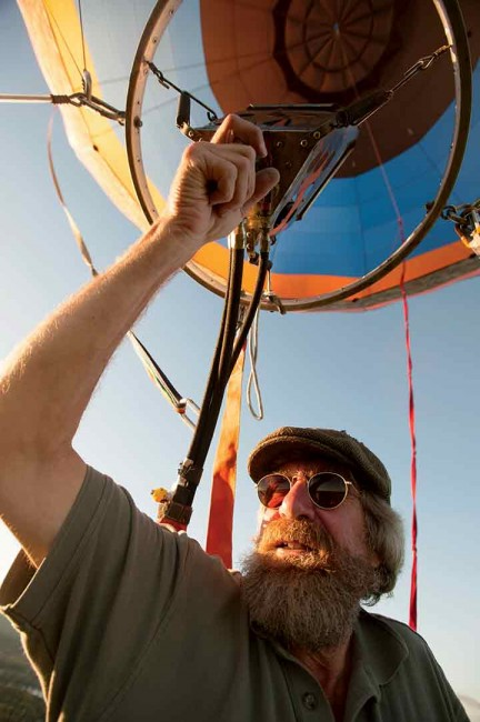 Brian Boland gets ready to take to the skies in his hot-air balloon.