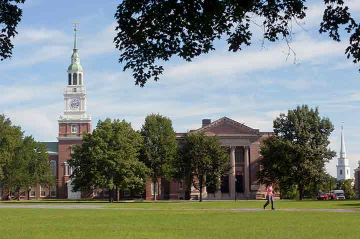 At the heart of Dartmouth College's stately campus in Hanover, New Hampshire, is the Green. At left in this photo is Baker Memorial Library (built in 1928 and modeled after Philadelphia's Independence Hall); at right is Webster Hall, completed in 1907 as a concert facility, now housing the Rauner Special Collections of rare books and manuscripts and the college archives.