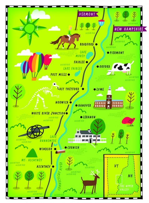 "An illustrated map of the ""Upper Valley. Credit: Nate Padavick"