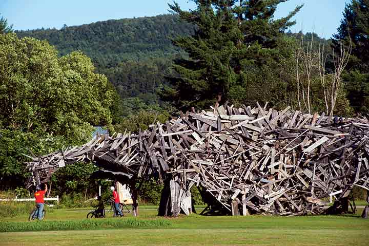 It's Vermont's own Jurassic Park: The grounds of the Post Mills Airport is home to Brian Boland's whimsical critter, Vermontasaurus, 122 feet long, created in 2010 from scrap lumber.