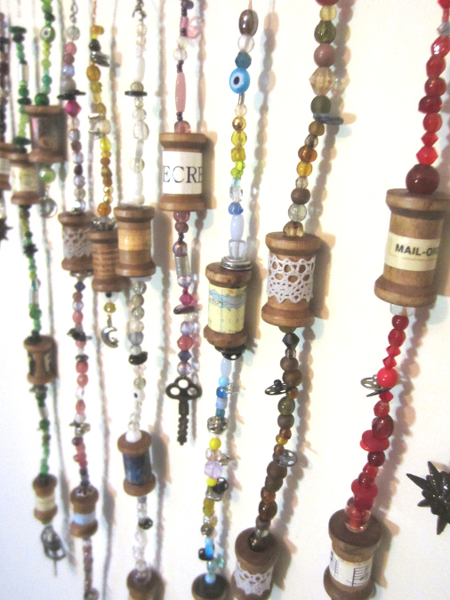 make beaded spool ornaments