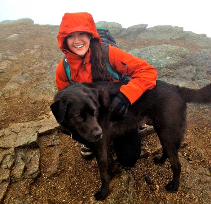 The author and her favorite hiking partner, Jack, in good spirits despite the not-so-good weather.