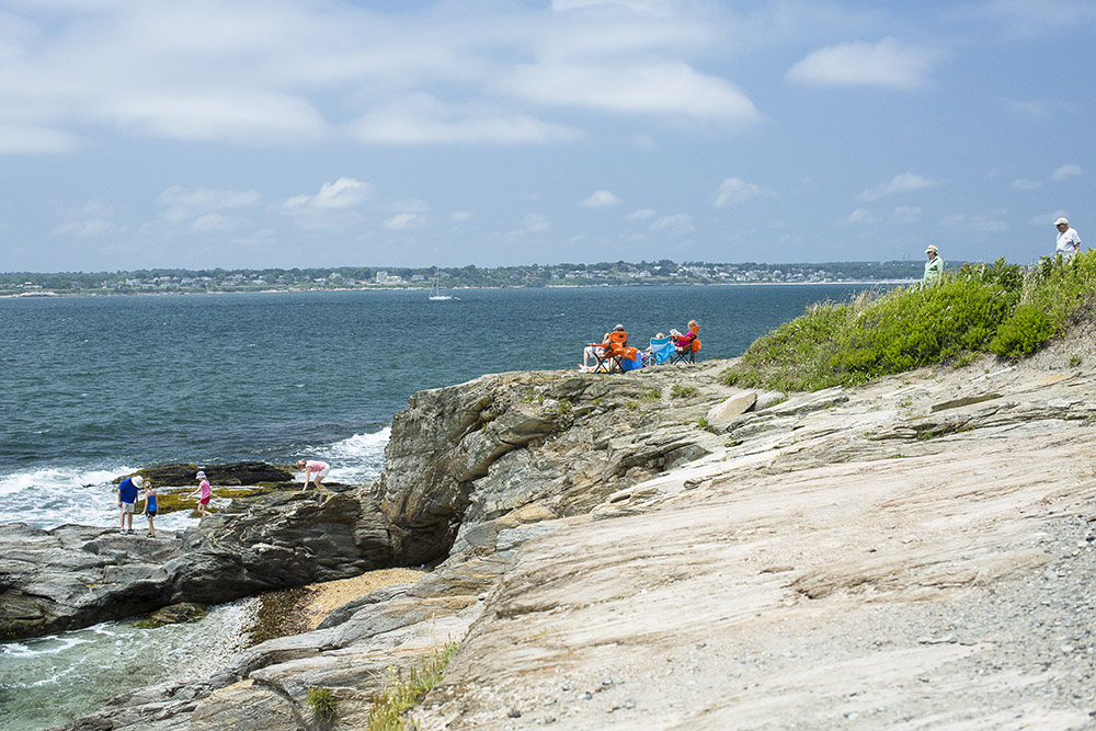 The rocky coast in Jamestown at Beavertail State Park.