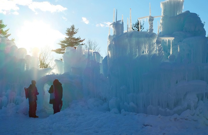 The acre-sized ice castle in Lincoln, New Hampshire.