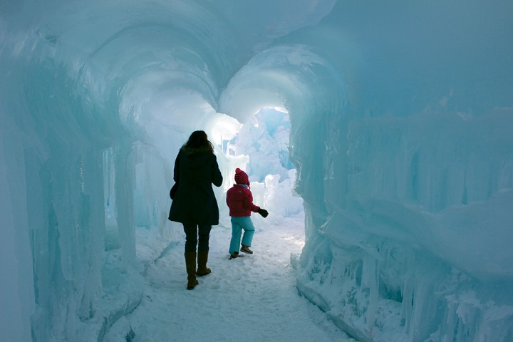 The icy tunnel entrance leads the way into the main courtyard.