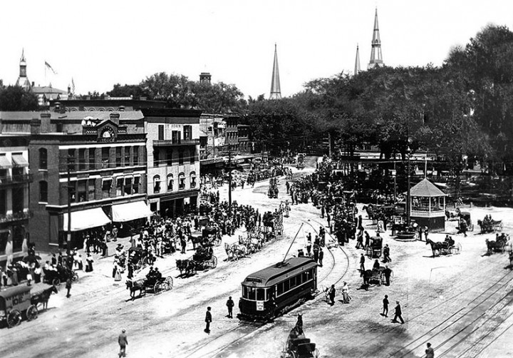 Main Street In Keene New Hampshire Showing Central Square And The Electric Railway