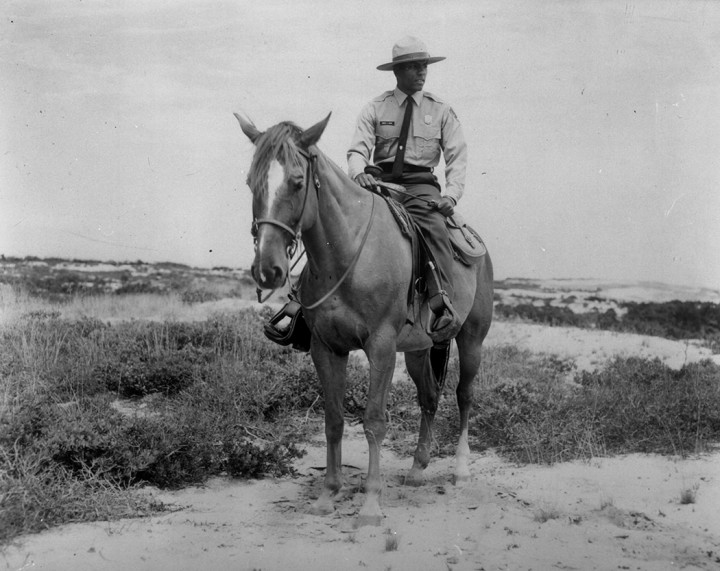 With the donation of two trained horses from Yosemite, the National Seashore Horse Patrol began in the 1960s. Park Ranger Robert Tignor is seen on patrol in 1966. Although no longer active, horseback riding is still permitted in designated locations in the off season.