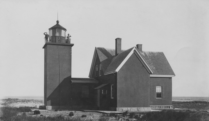 The Billingsgate Lighthouse, built in 1822 stood for 100 years on the 50-acre island just south of Wellfleet's Great Island. Erosion has left little of the island today which is now known as Billingsgate Shoal and is visible from the mainland at low tide.