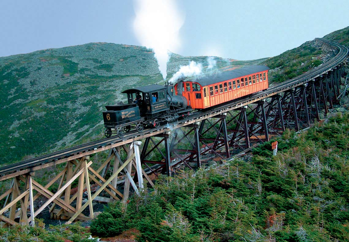 the mount washington cog railway train ride to the top of new