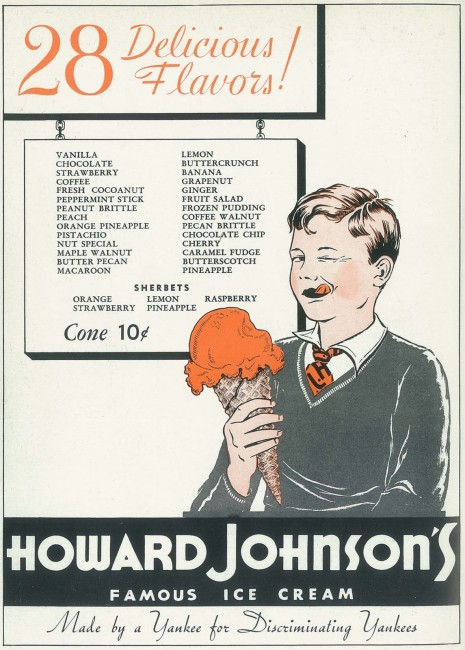 1940 Howard Johnson's Ad from Yankee Magazine | 28 Flavors