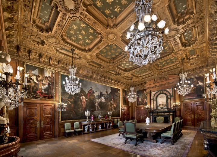La sala da pranzo Elms, che ospita la più grande collezione di dipinti veneziani fuori Venezia