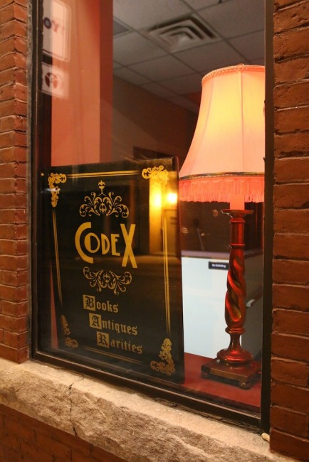 The window next to Codex's real entrance. codex nashua speakeasy