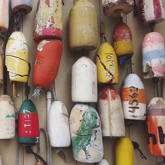 Lobster buoys in Mystic, CT.