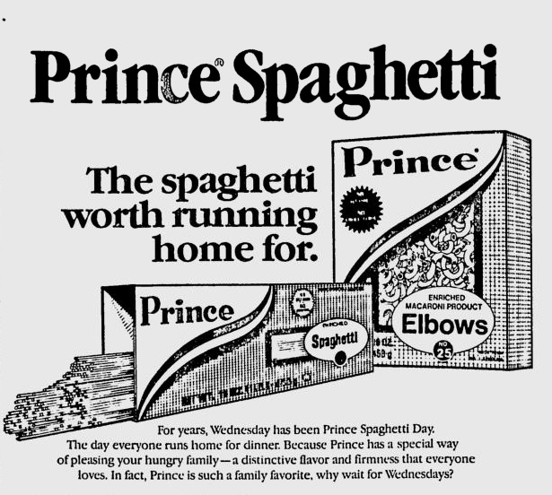 Wednesday is Prince Spaghetti Day ad