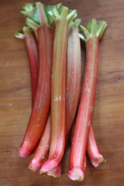 Remember that rhubarb leaves are toxic, so be sure to trim those off as soon as they're harvested.