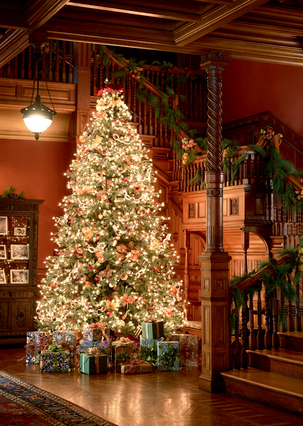 The Houses Main Christmas Tree Festooned With Victorian Style Handmade Paper Decorations And A Fanciful Flock Of Bird Ornaments