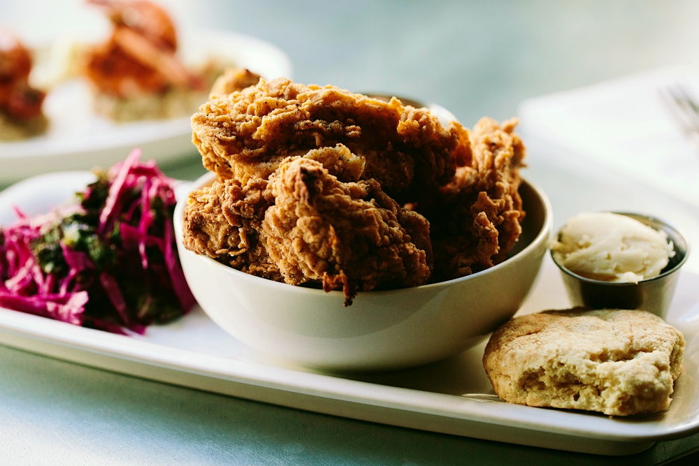 Fried chicken with cornbread and slaw at The Franklin