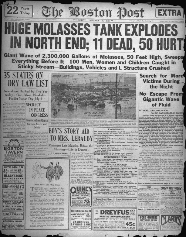 The front page of the Boston Post on January 16, 1919.