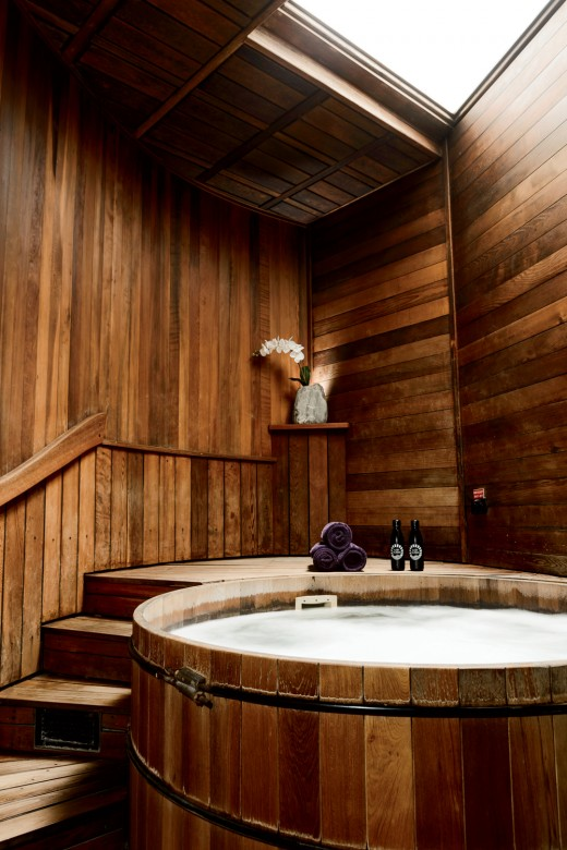 One of the eight hot tubs at East Heaven.