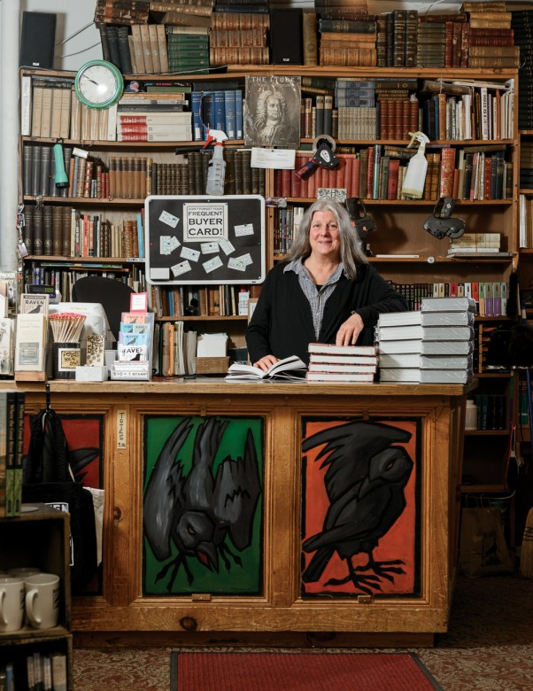 Owner Betsy Frederick at Raven Used Books, a haven for local academics and bibliophiles.