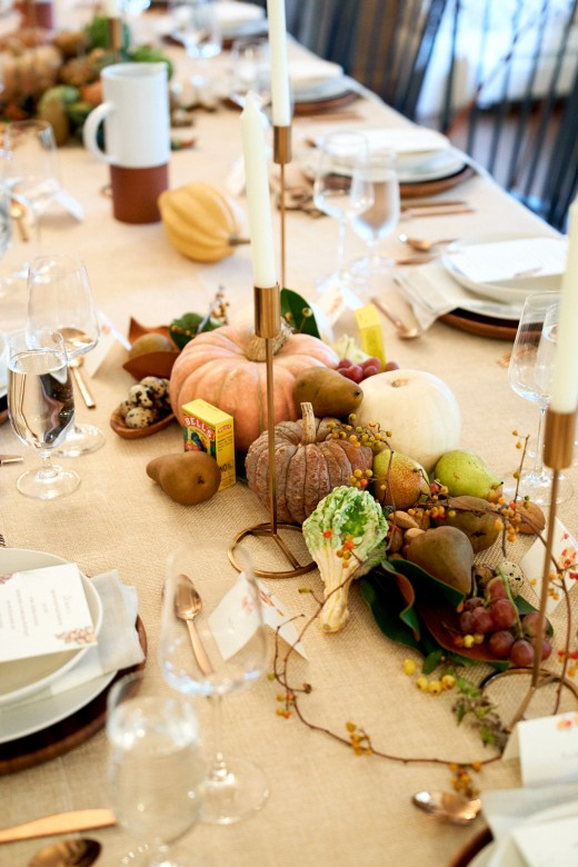 think a little outside the box when it comes to table decor. With so many beautiful textures and colors in the autumn and winter palettes there are infinite sources for inspiration. Humble materials right from the back yard or produce section of the market can come together as a remarkable center piece. Celebrate the season with gourds, grapes, apples, pears, leaves and nuts. I try to choose materials with interesting textures but stay within the color pallet I started with at the outset. Arm yourself with a good pair of scissors and walk around the yard. There are lots of pretty seed pods, nuts and grasses this time of year that make great accents on the table. I especially love using eggs on the table . Don't be afraid to have fun! Its doesn't always have to be flowers taking centerstage. And the table decor can be incorporated into pies or breakfasts later in the week with the edible elements.