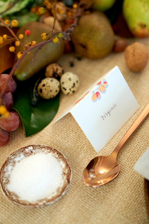 personalize your table - make guests feel special with a little handwritten place card or their own salt dish (also a great place to incorporate family heirlooms) small accents make the meal feel intimate and considered.