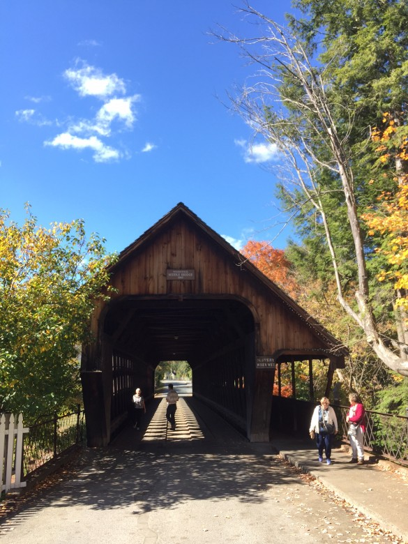 MIddle Bridge in Woodstock, Vermont, is a popular place for strolling and photo-ops.