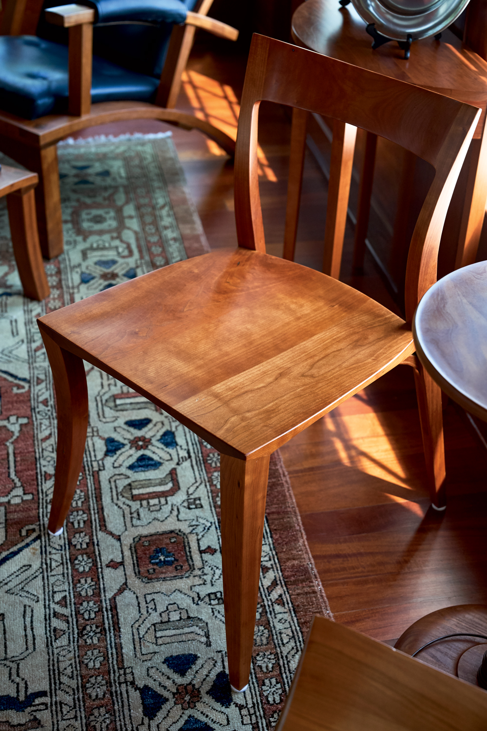 A Cherry Rockport Chair Comes To The Fore Amid Mix Of Thos Moser Furniture Gracing Thomaary S Home