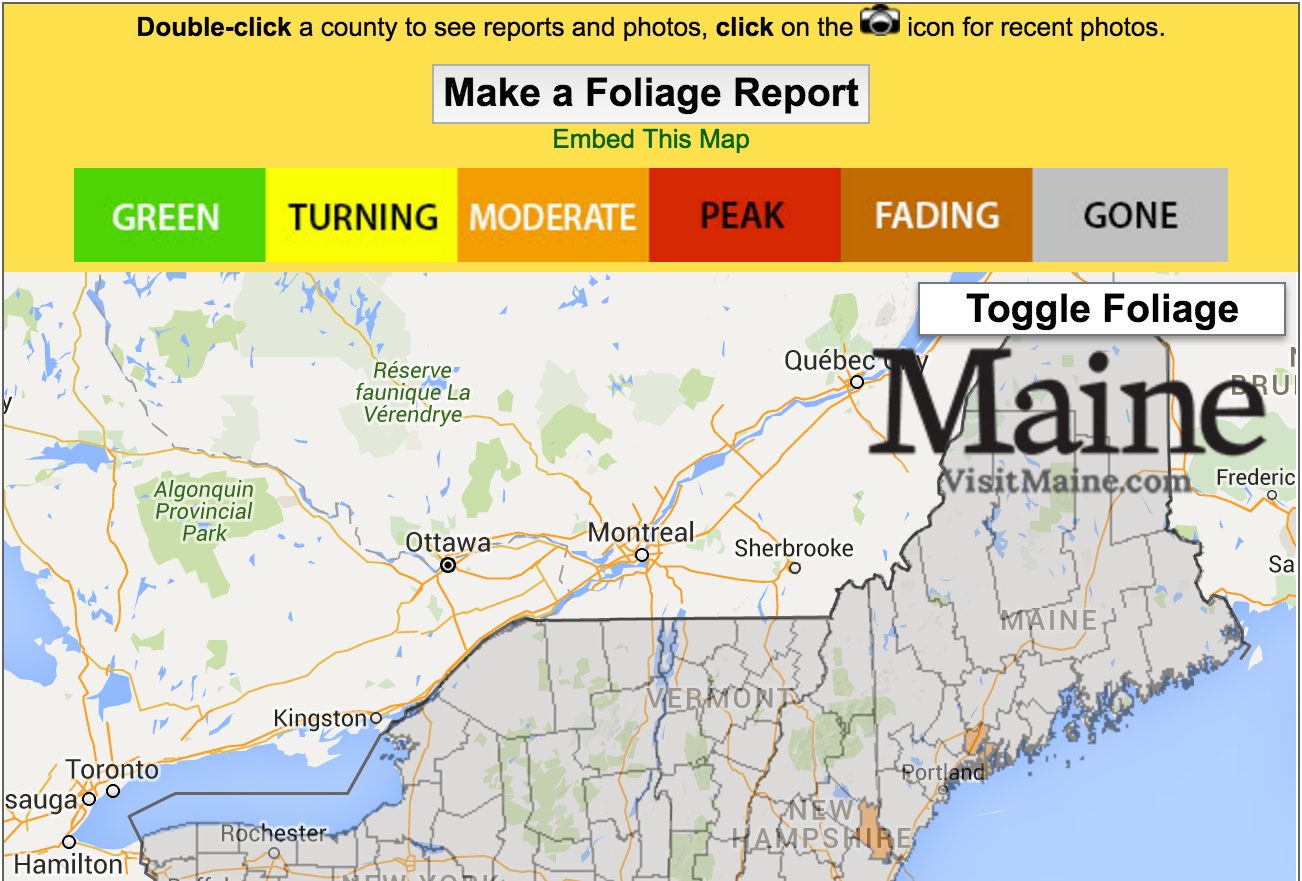 Live Fall Foliage Map - New England Today