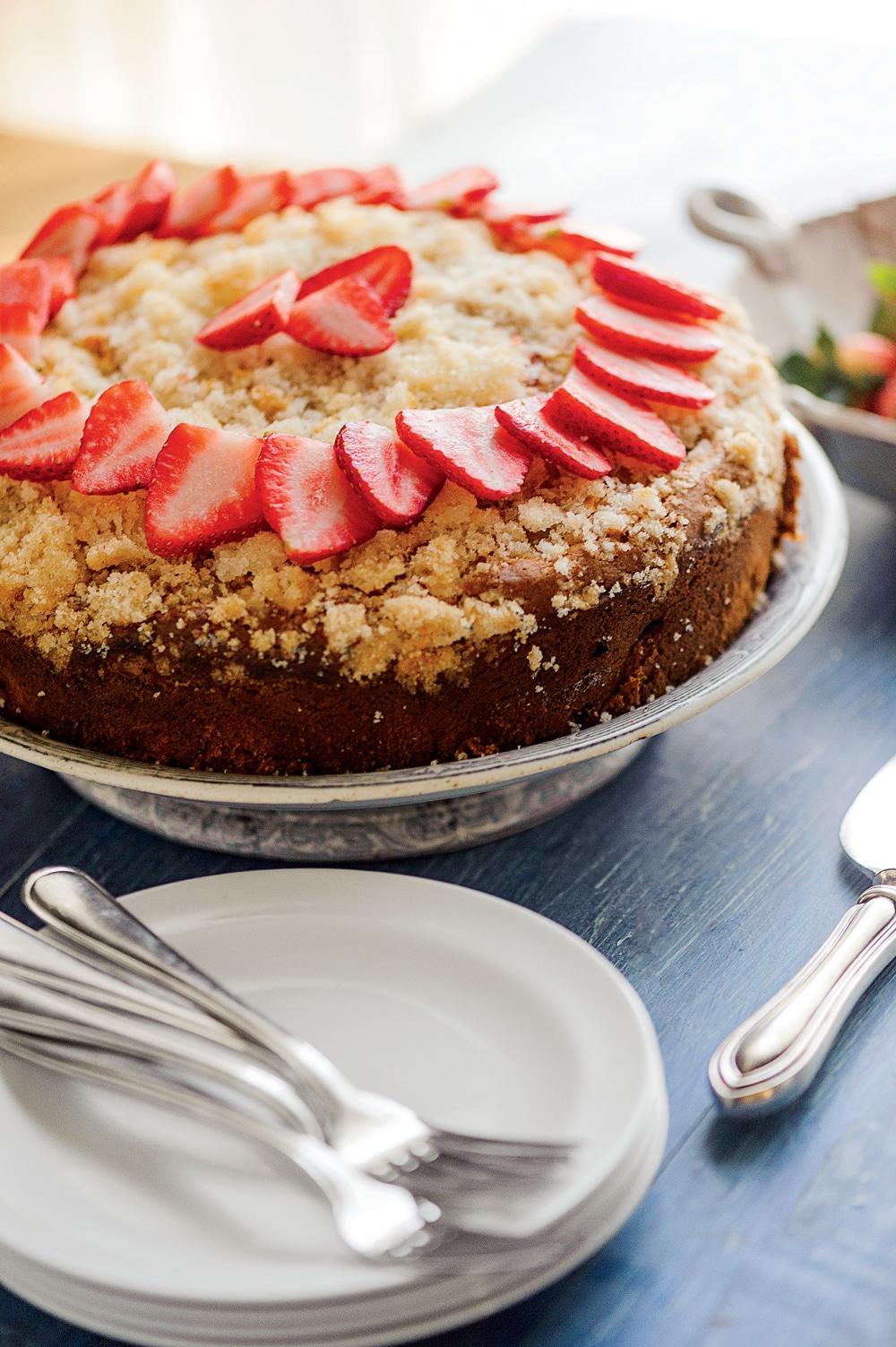 Strawberry Rhubarb Coffee Cake Idea