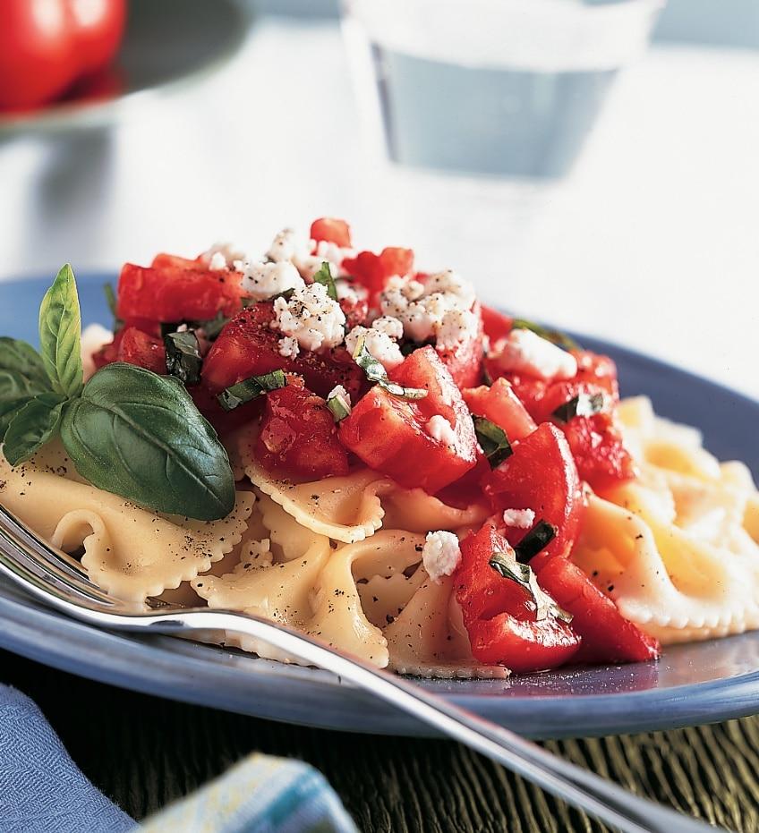 Bow-Tie Pasta with Fresh Tomato-Basil Sauce Recipe