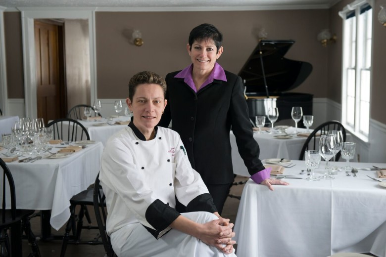 Chef Jevgenija Saromova with proprietor Mara Mehlman of The Lincoln Inn & Restaurant in Woodstock, Vermont