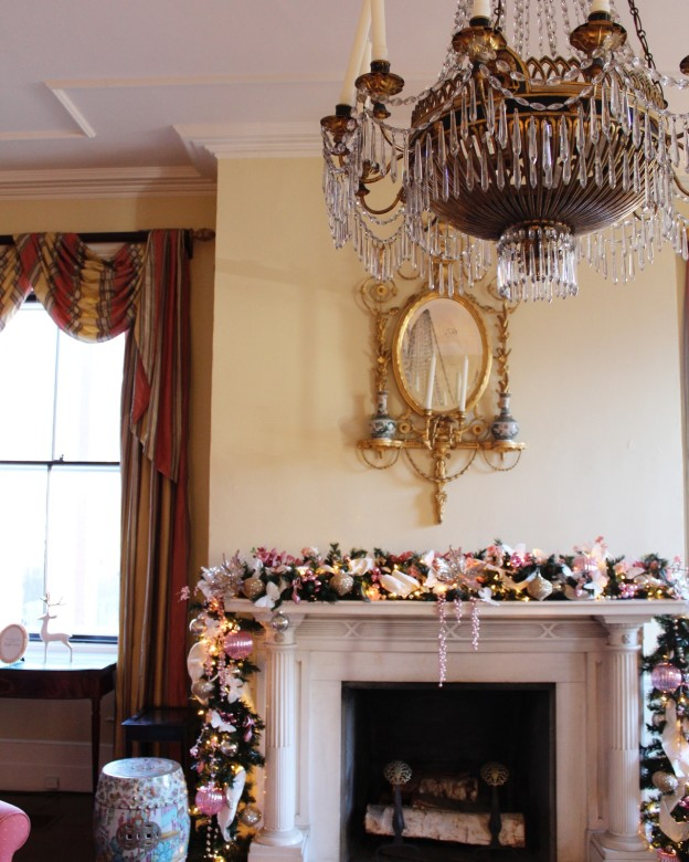 This beautiful marble mantle is original to the home - just one of the many ornate details from the house tour.