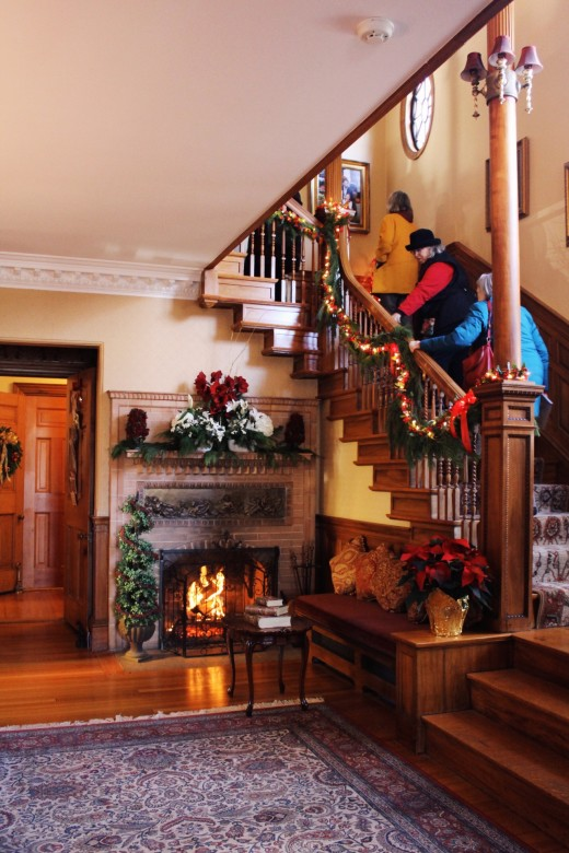 Guests were ushered in the entryway and made their way up the stairs to view the bedrooms of the historic home.
